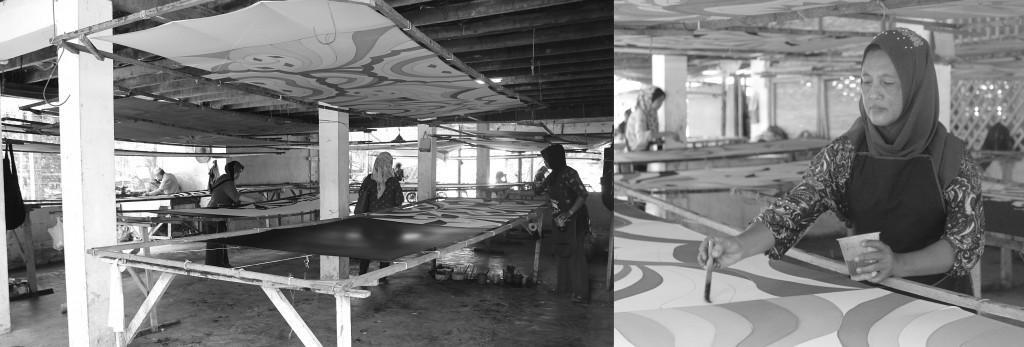 マレーシア北部クランタン州にあるバティックの工場。職人が1枚ずつ手で模様を描き、グラデーションに染める。