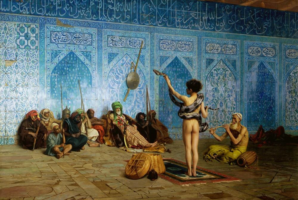 "Jean-Leon Gerome ""The Serpent Charmer"" 東方趣味絵画に顕著に表れる<東洋>の表象の様式の一例と言える。 (出典:Art Renewal Center)"
