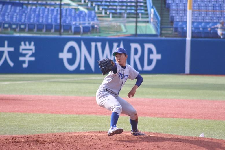 5月7日の立教大学戦で自身初の完封勝利を果たした宮台選手(撮影・関根隆朗)